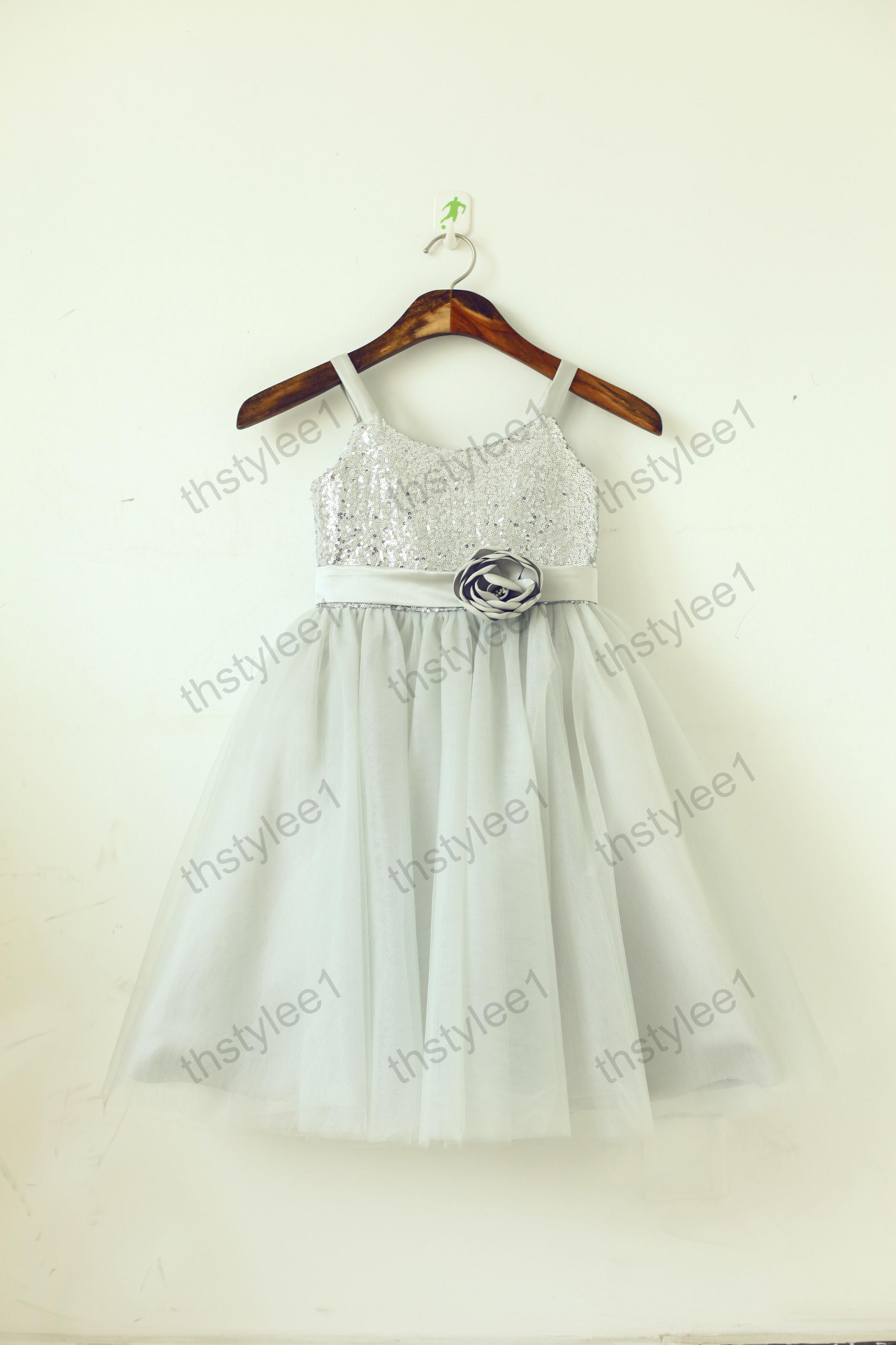 a863aaae2 Silver Ivory Sequin Tulle Knee Length Flower Girl Dress Party Dress ...